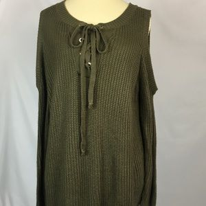 ENTRO Army Green Cold Shoulder Lace Up Sweater
